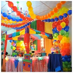 Circus baby shower decorations  Love this idea for a boy instead of just doing nursery theme.