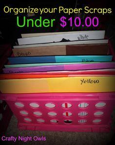 CraftyNightOwls: Paper Scraps Organized #organize #Craft_Room #Scrap_paper