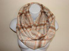 cream orange plaid infinity scarf brown flannel by OtiliaBoutique Plaid Flannel, Plaid Scarf, Plaid Infinity Scarf, Autumn Winter Fashion, Cream, Orange, Stylish, Brown, Cotton