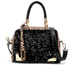 $12.96 Stylish Women's Handbag With Color Matching Leopard Patterns Sequins Design - Sammydress.com