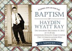 Boy Baptism Invitation Custom photo card printable. $12.00, via Etsy.