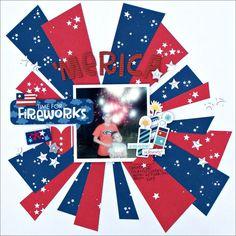 Bella Blvd ~~JennyEvans_'Merica_layout ~~Love the firework effect. Disney Scrapbook, Baby Scrapbook, Scrapbook Paper Crafts, Scrapbook Albums, Scrapbook Cards, Scrapbook Sketches, Scrapbook Page Layouts, Scrapbooking Ideas, Freebies