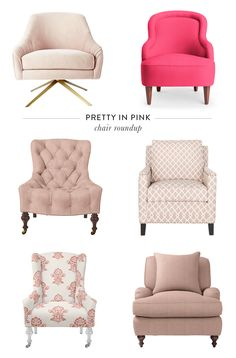 12 Pink Chairs That Steal the Show Looking for the perfect pink chair for your home? You'll love this list. See these 12 Pink Chairs That Steal the Show. Living Room Sofa Design, Living Room Chairs, Living Room Decor, Dining Chairs, Dining Room, Wooden Chairs, Kitchen Chairs, Lounge Chairs, Chair Design