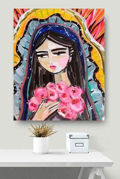Modern Mary PRINT Portrait Virgin de Guadalupe print on Large Canvas Prints, Canvas Art, Painting Inspiration, Art Inspo, Frida Art, Mexican Art, Painting & Drawing, Pop Art, Art Projects