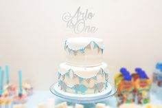 Blue and grey themed birthday cake