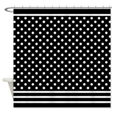 Dots and Stripes Black White Shower Curtain on CafePress.com