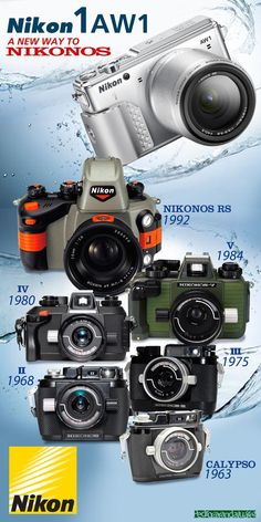 NIKONOS RS, V, VI, II, II, Calypso underwater film cameras and digital camera