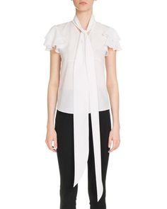 GIVENCHY TIE-NECK FLUTTER-SLEEVE BLOUSE, WHITE. #givenchy #cloth #