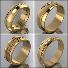 WWW.HACEMOSTUSJOYAS.COM Mens Gold Bracelets, Mens Gold Rings, Mens Gold Jewelry, Rings For Men, 15 Rings, Gold Ring Designs, Fashion Jewelry, Wedding Rings, Engagement Rings