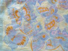Vintage Scarf Blue Purple & Gold Butterflies Sheer by