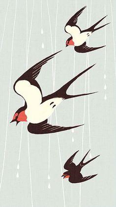 Swallows by Shino Gravure Illustration, Bird Illustration, Illustrations, Linocut Prints, Art Prints, Bird Crafts, Bird Drawings, Bird Design, Embroidery Art