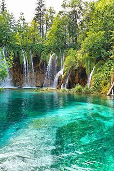 Beautiful waterfall in deep forest – Croatia: