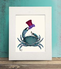 Crab Poster The Dandy Crab crab print nautical by NauticalNell