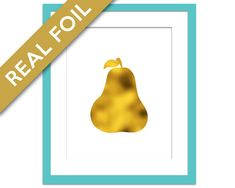Pear Art Print - Gold Foil Print - Food Poster - Gold Foil Kitchen Wall Art - Food Art - Kitchen Art Print - Gift for Chef - Gold Pear Art