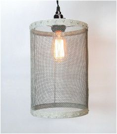 Mesh Wire Barrel Pendant Light Fixture Aged Galvanized Look Old Round Barrel | eBay