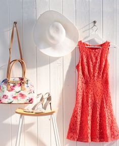 The perfect Easter Sunday look: a bright coral fit-and-flare dress, white strappy sandals and hat—does that count as a bonnet?—and a set-for-spring satchel from Apt. Get set for Easter at Kohl's. Fit Flare Dress, Fit And Flare, Kohls Outfits, Fashion Mode, Fashion Outfits, Pretty Outfits, Cute Outfits, Skirt Outfits, Dress Me Up