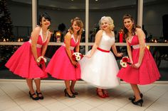 The Bridal Party, pin-up style! #1950swedding #retrowedding #rockabillywedding #vintageinspired #tealength #pinupstyle #redandwhite #polkadots
