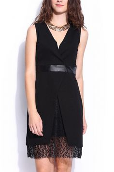 Shie from KAS New York. A classic sleevelss LBD with a V-neckline, leather waistband, faux-wrap knit dress with peek-a-boo lace and an open back. $145