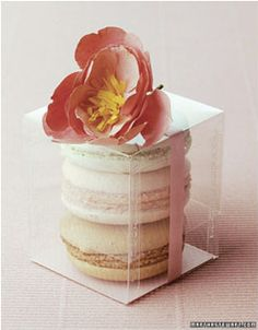 Macaron Favours in the colour of the table colour theme (if that makes sense)