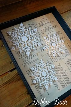 How to mod podge old book pages and make a winter snowflake craft