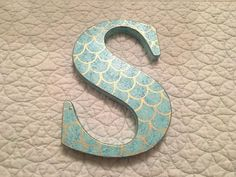 Mermaid Scales Single Hand Painted Initial Letter, Nursery/ Bedroom Decor, Photo Prop Mermaid Scales Single Hand Painted Initial Letter by APiecefulHome Little Mermaid Room, Baby Mermaid, Little Girl Rooms, Baby Bedroom, Kids Bedroom, Kids Rooms, Painted Initials, Hand Painted, Painted Letters