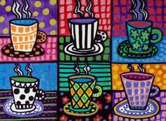Coffee Cups Art Kitchen Wall Decor Print Poster Painting Folk Art signed Heather Galler
