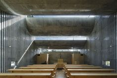 Shonan+Christ+Church++/+Takeshi+Hosaka-very neat use of rounded concrete forms Sacred Architecture, Religious Architecture, Church Architecture, Japanese Architecture, Interior Architecture, Acoustic Architecture, Shadow Architecture, Interior Design, Concrete Forms