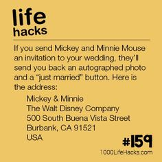 Maybe do? The post – How To Invite Mickey and Minnie Mouse to your Wedding appeared first on 1000 Life Hacks. Cute Wedding Ideas, Wedding Goals, Wedding Tips, Our Wedding, Dream Wedding, Wedding Hacks, Wedding Invitation Hacks, Wedding Decorating Hacks, Wedding Planning Memes