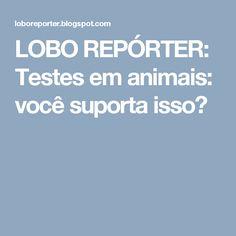 LOBO REPÓRTER: Testes em animais: você suporta isso?