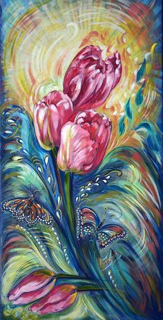 Tulip Painting - Pink Tulips And Butterflies by Harsh Malik