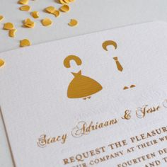 Wedding-Paper-Bells | Stacy and Jesse Wedding invitation we designed for this fun young couple. #Schwarzie Wedding Paper, Place Cards, Wedding Invitations, Stationery, Place Card Holders, Couple, Fun, Design, Masquerade Wedding Invitations