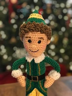 Ravelry: Buddy the Elf Amigurumi pattern by Allison Hoffman Christmas Crochet Patterns, Crochet Patterns Amigurumi, Crochet Toys, Crochet Christmas, Crochet Things, Christmas Elf Doll, Xmas Elf, Christmas Decor, Der Elf