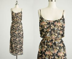 90s Vintage Sheer Floral Maxi Slip Dress / Size Small / by decades