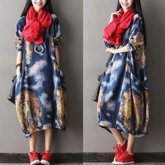 Casual cotton loose dress