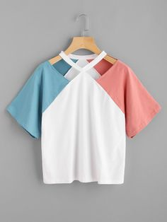 Contrast Raglan Sleeve Cut Out Neck Tee