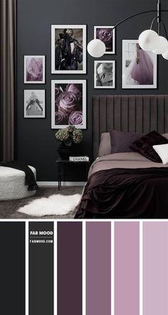 Purple Master Bedroom, Charcoal Bedroom, Purple Bedroom Decor, Best Bedroom Colors, Dark Purple Bedrooms, Dark Purple Walls, Plum Walls, Purple Hues, Bedroom Color Combination