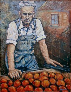 """Portrait of my grandfather in acrylic. I was inspired by post impressionism. 36""""x48"""""""