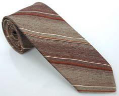 SIMPSONS HUNT CLUB TIE 53L Brown Copper Cream Striped Vintage Skinny Necktie