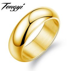 TENGYI Fashion 316L Stainless Steel Ring 7MM Wide Classic Cool Gold Color Wedding Bands Rings for Men Jewelry TY334J