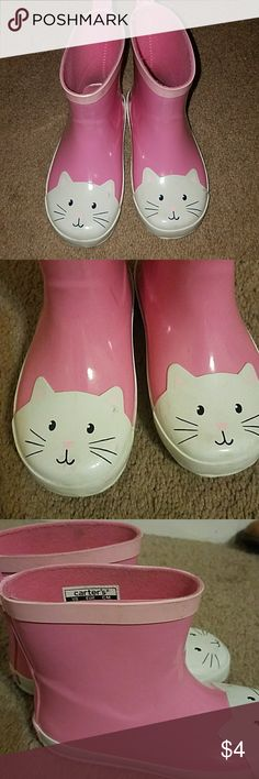 Carter's Adorable Kitty Rain boots Size 10 Adorable and Perfect for Your Little Kitty Lover! Carter's Pink and White Pull On Kitty Rain Boots Toddler Girls Size 10. Preloved but SO much life left! Please see Pics. Scuffs and Minor Areas of Discoloration. Insoles are lifting. Carter's Shoes Rain & Snow Boots