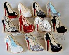 These are COOKIES! Fantastic Louboutin cookies (Sugar Envy's entire stream is fabulous)! High Heel Cookies, Shoe Cookies, Fancy Cookies, Iced Cookies, Cupcake Cookies, Sugar Cookies, Cupcakes, Basic Cookies, Crazy Cookies