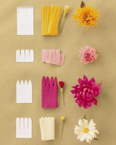 La fleur papier crepon diy idée créative décoration
