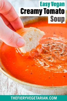 This easy creamy homemade vegan tomato soup recipe is the best tomato soup recipe you can make from pantry essentials in under half an hour! Simple and quick, make it without chopping, stirring or blending. No muss, no fuss, just throw eight ingredients (including coconut milk - don't worry you can't taste it) in a pot and cook for 20 minutes. Done! What will you serve with yours? Visit and see the quick recipe video if you're a more visual person. Vegan Dinner Recipes, Delicious Vegan Recipes, Vegetarian Recipes, Vegetarian Lunch, Skinny Recipes, Vegan Tomato Soup, Tomato Soup Recipes, Quick Recipe Videos, Quick Easy Vegan