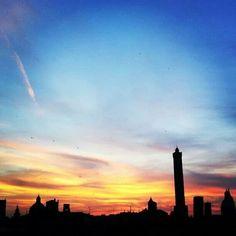 #Bologna #sunset #skyline #towers #Italy #autumn