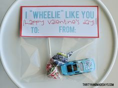 "I ""wheelie"" like you- fun boy Valentine's day treat with printable!"