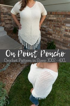 Throw this sleeved poncho over a tank top and capris and you'll be set all fall. This crochet pattern is SUPER easy and quick, too! # crochet poncho with sleeves On Point Poncho Crochet Pattern Crochet Poncho With Sleeves, Crochet Poncho Patterns, Crochet Motifs, Crochet Shirt, Crochet Sweaters, Freeform Crochet, Crochet Crafts, Easy Crochet, Crochet Tops