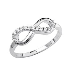 Sterling Silver Rhodium Plated Half Infinity Promise Ring Band