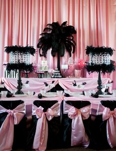 Black and pink...Black Feathered centerpieces -Super cute for a Sweet 15/16 birthday, bridal shower, bachelorette party