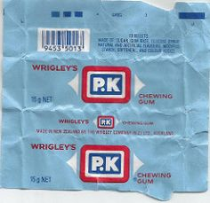 Late Wrigleys Blue PK Chewing Gum Wrapper - New Zealand Chewing Gum, 1980s, New Zealand, Packaging, How To Make, Blue, Vintage, Wrapping, Vintage Comics