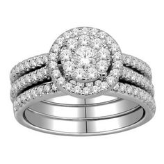 @Overstock - Demonstrate your commitment to one another every day with this beautiful imperial white gold bridal set. The unique design of this lovely round-cut engagement ring and pave bridal band will remind you every day of your love and commitment.http://www.overstock.com/Jewelry-Watches/10k-Gold-1ct-TDW-Diamond-Halo-Imperial-Bridal-Ring-Set-H-I-I2-I3/6159109/product.html?CID=214117 $1,179.99